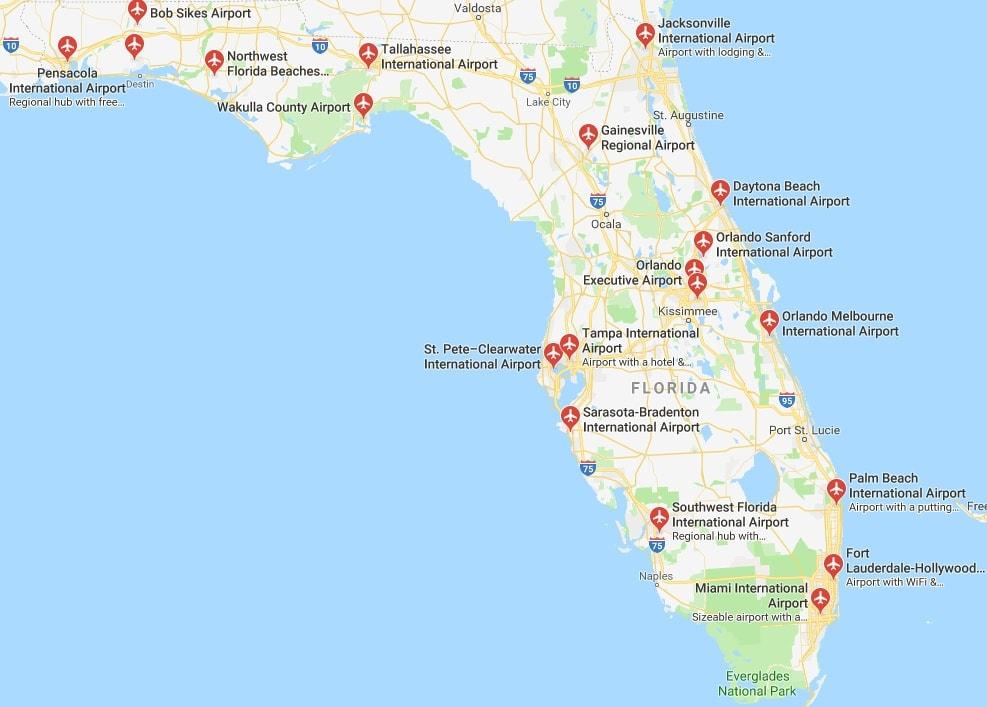 Map of Florida airports